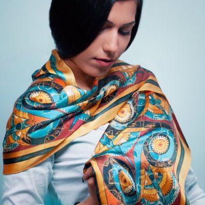 Minoïsche handgemaakte zijden sjaal